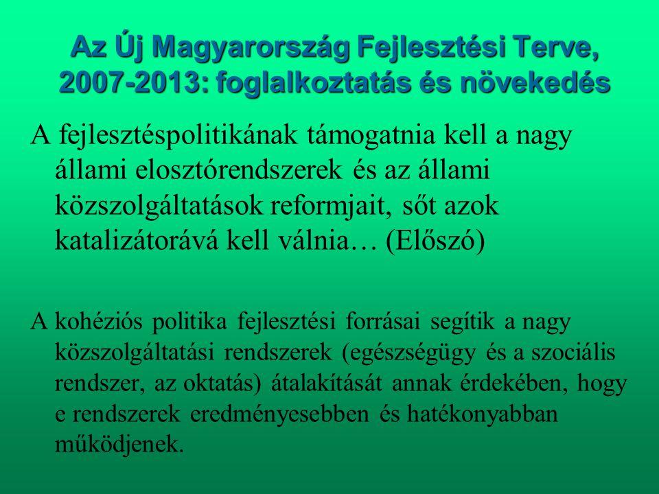 Az Új Magyarország Fejlesztési Terve, 2007-2013: foglalkoztatás és növekedés A fejlesztéspolitikának támogatnia kell a nagy állami elosztórendszerek é