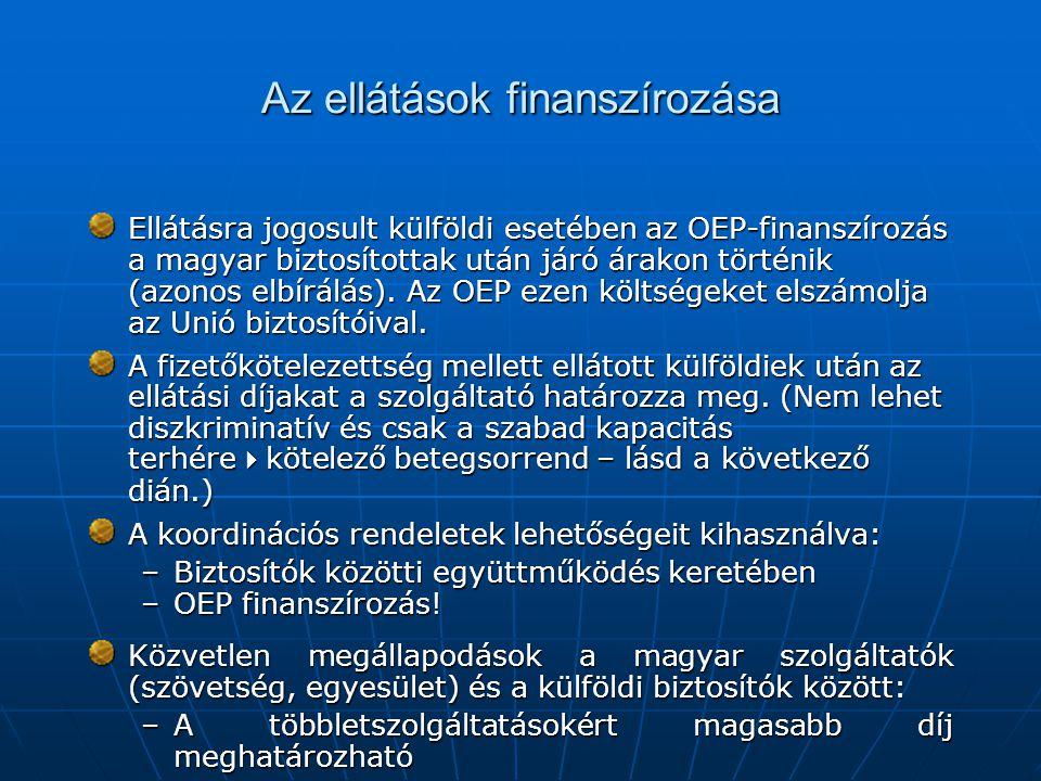 Az ellátások finanszírozása Ellátásra jogosult külföldi esetében az OEP-finanszírozás a magyar biztosítottak után járó árakon történik (azonos elbírál
