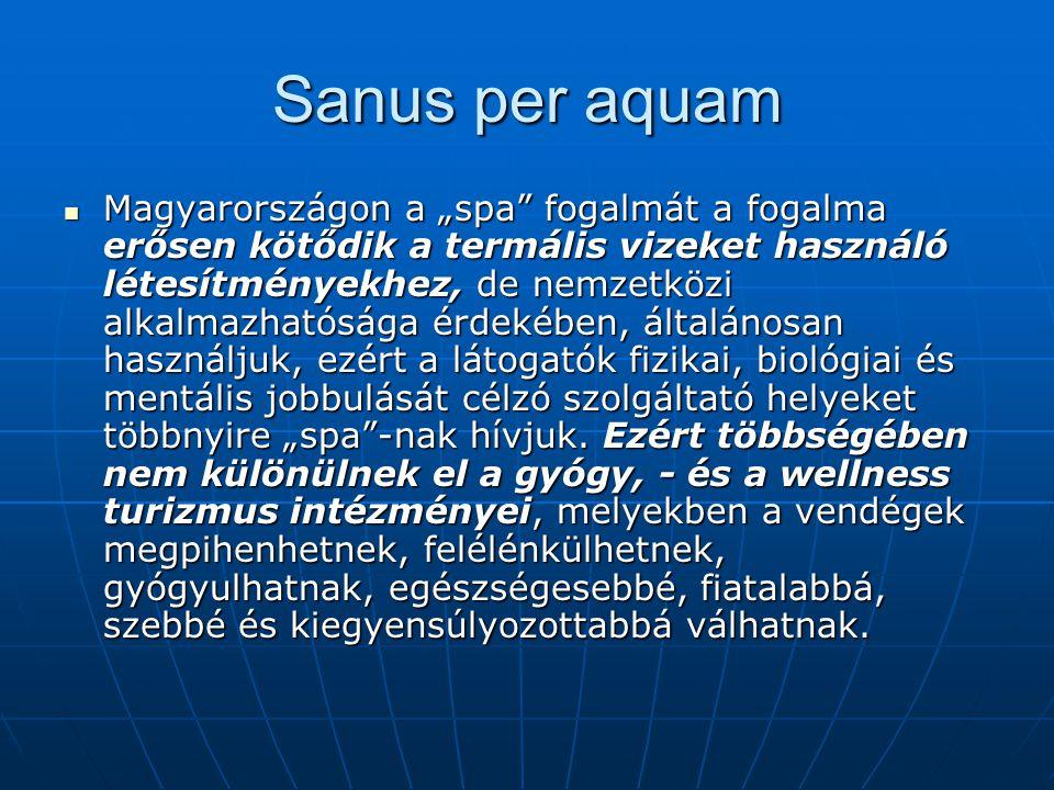 """Sanus per aquam  Magyarországon a """"spa"""" fogalmát a fogalma erősen kötődik a termális vizeket használó létesítményekhez, de nemzetközi alkalmazhatóság"""