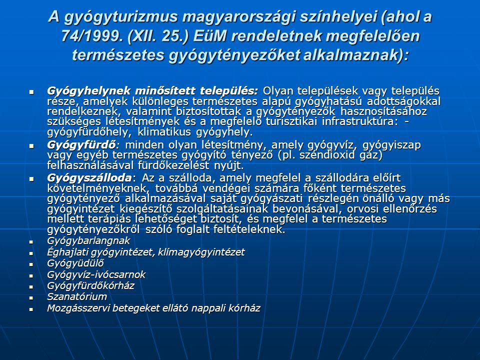 A gyógyturizmus magyarországi színhelyei (ahol a 74/1999. (XII. 25.) EüM rendeletnek megfelelően természetes gyógytényezőket alkalmaznak):  Gyógyhely