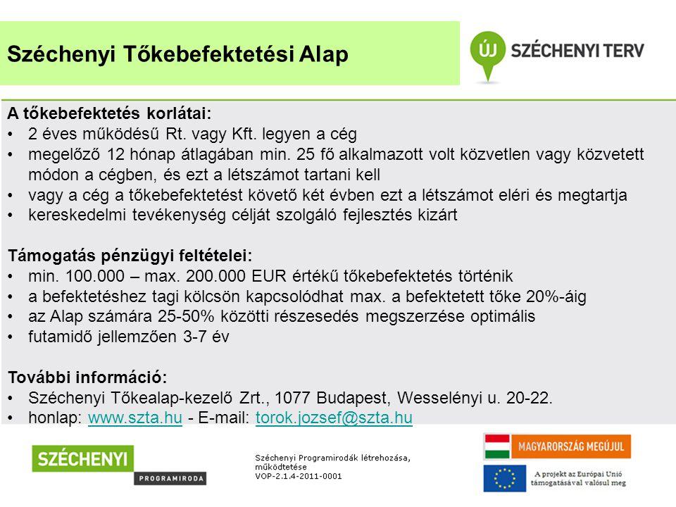 Széchenyi Tőkebefektetési Alap A tőkebefektetés korlátai: •2 éves működésű Rt. vagy Kft. legyen a cég •megelőző 12 hónap átlagában min. 25 fő alkalmaz