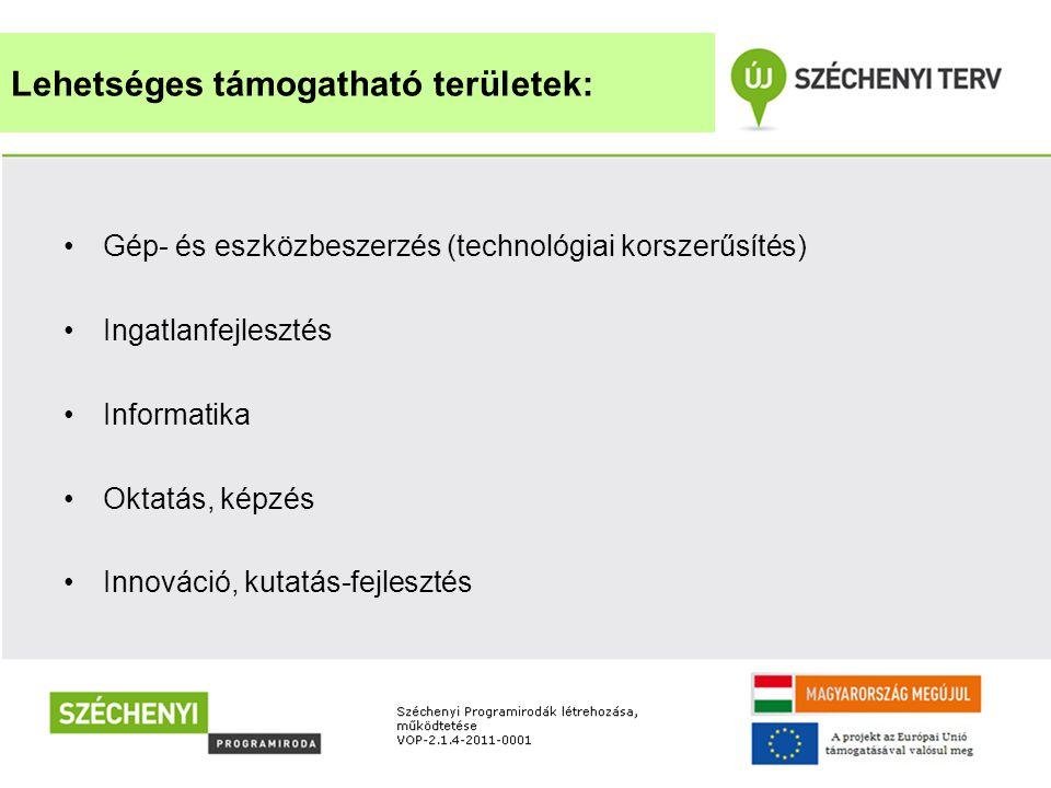 •Gép- és eszközbeszerzés (technológiai korszerűsítés) •Ingatlanfejlesztés •Informatika •Oktatás, képzés •Innováció, kutatás-fejlesztés Lehetséges támo