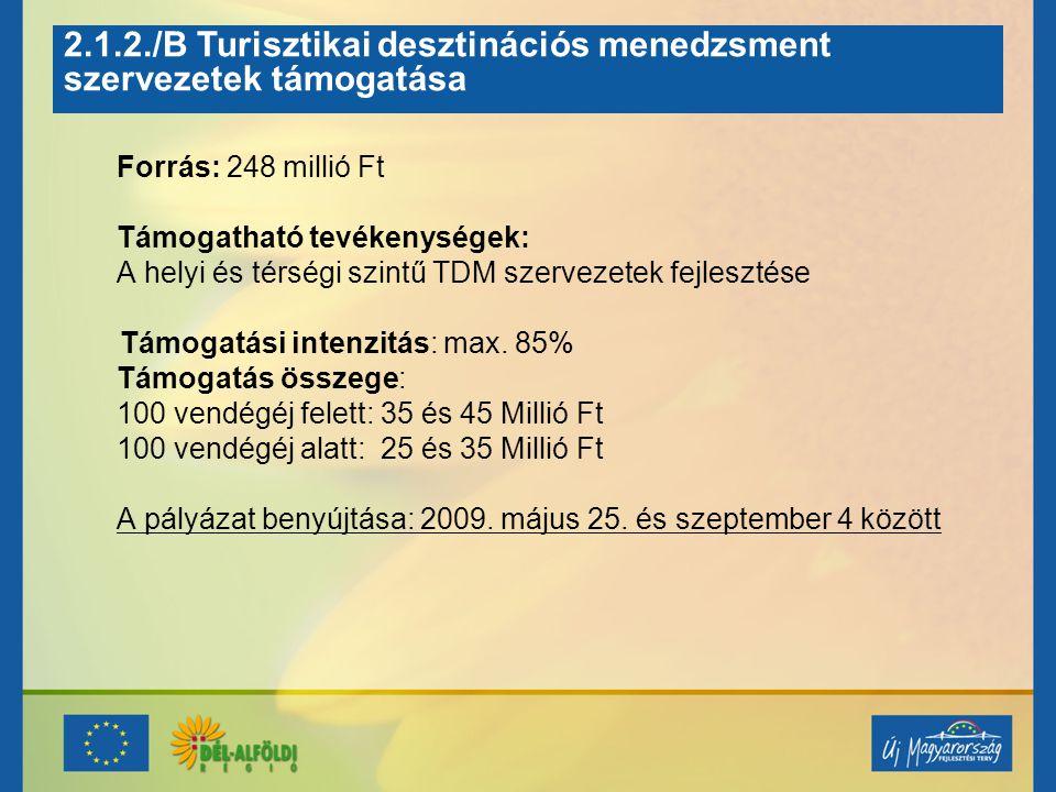 2.1.2./B Turisztikai desztinációs menedzsment szervezetek támogatása Forrás: 248 millió Ft Támogatható tevékenységek: A helyi és térségi szintű TDM sz