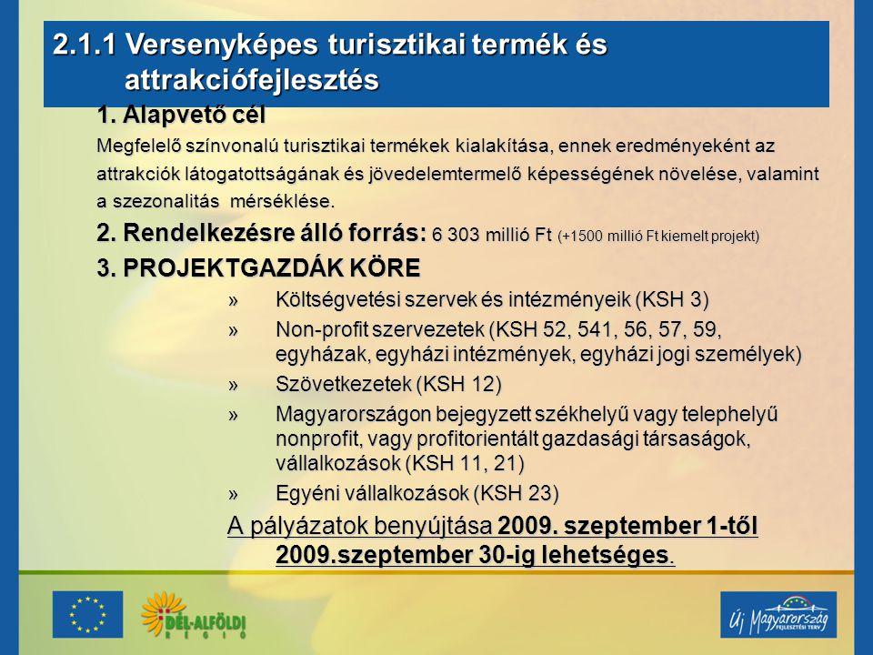 2.1.1 Versenyképes turisztikai termék és attrakciófejlesztés attrakciófejlesztés 1.
