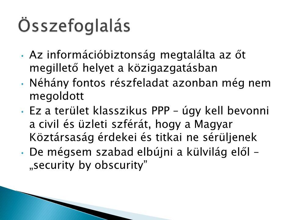 """• Az információbiztonság megtalálta az őt megillető helyet a közigazgatásban • Néhány fontos részfeladat azonban még nem megoldott • Ez a terület klasszikus PPP – úgy kell bevonni a civil és üzleti szférát, hogy a Magyar Köztársaság érdekei és titkai ne sérüljenek • De mégsem szabad elbújni a külvilág elől – """"security by obscurity"""
