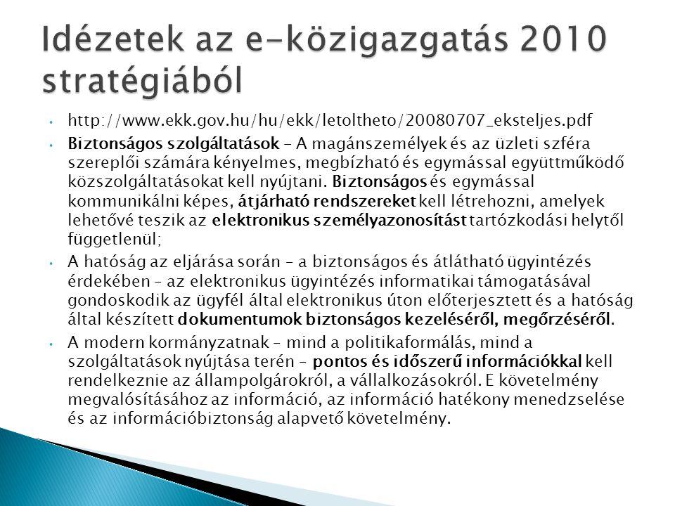• http://www.ekk.gov.hu/hu/ekk/letoltheto/20080707_eksteljes.pdf • Biztonságos szolgáltatások – A magánszemélyek és az üzleti szféra szereplői számára kényelmes, megbízható és egymással együttműködő közszolgáltatásokat kell nyújtani.