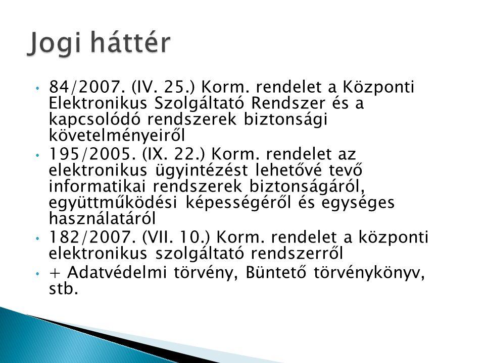 • 84/2007. (IV. 25.) Korm.