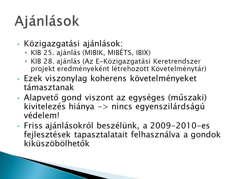 • Közigazgatási ajánlások: • KIB 25. ajánlás (MIBIK, MIBÉTS, IBIX) • KIB 28.