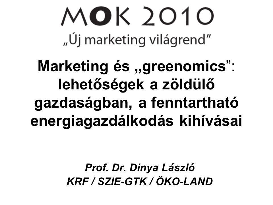 """Marketing és """"greenomics"""": lehetőségek a zöldülő gazdaságban, a fenntartható energiagazdálkodás kihívásai Prof. Dr. Dinya László KRF / SZIE-GTK / ÖKO-"""