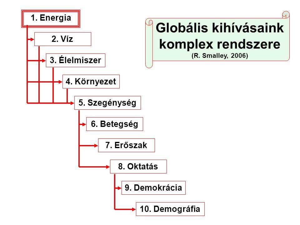 1. Energia 2. Víz 3. Élelmiszer 4. Környezet 5. Szegénység 6. Betegség 7. Erőszak 8. Oktatás 9. Demokrácia 10. Demográfia Globális kihívásaink komplex