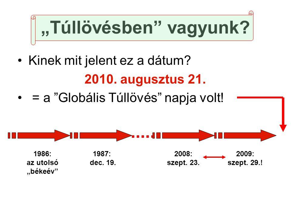 """""""Túllövésben"""" vagyunk? •Kinek mit jelent ez a dátum? 2010. augusztus 21. • = a """"Globális Túllövés"""" napja volt! 1986: az utolsó """"békeév"""" 1987: dec. 19."""