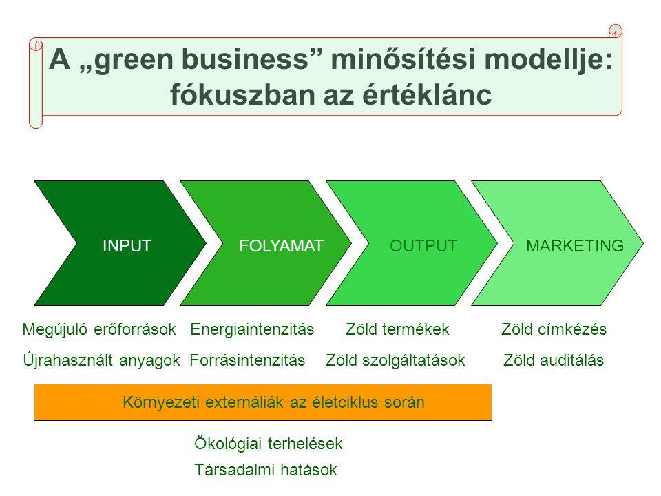 """A """"green business"""" minősítési modellje: fókuszban az értéklánc INPUTFOLYAMATOUTPUTMARKETING Megújuló erőforrások Újrahasznált anyagok Energiaintenzitá"""