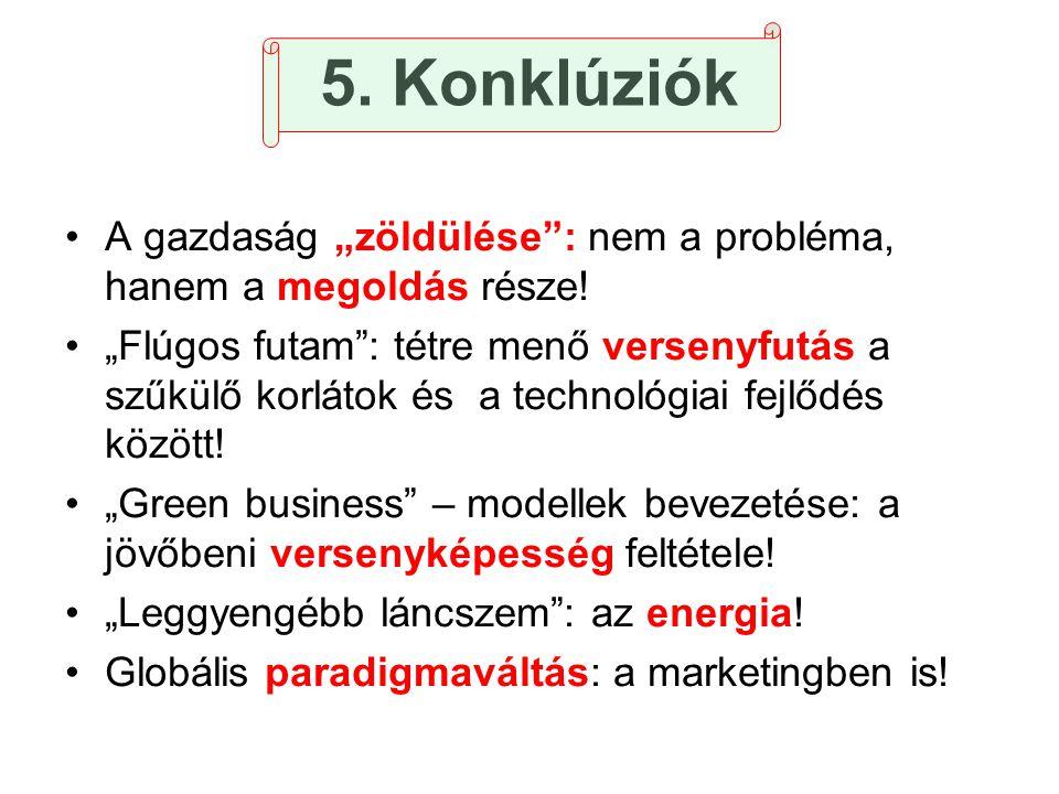 """5. Konklúziók •A gazdaság """"zöldülése"""": nem a probléma, hanem a megoldás része! •""""Flúgos futam"""": tétre menő versenyfutás a szűkülő korlátok és a techno"""