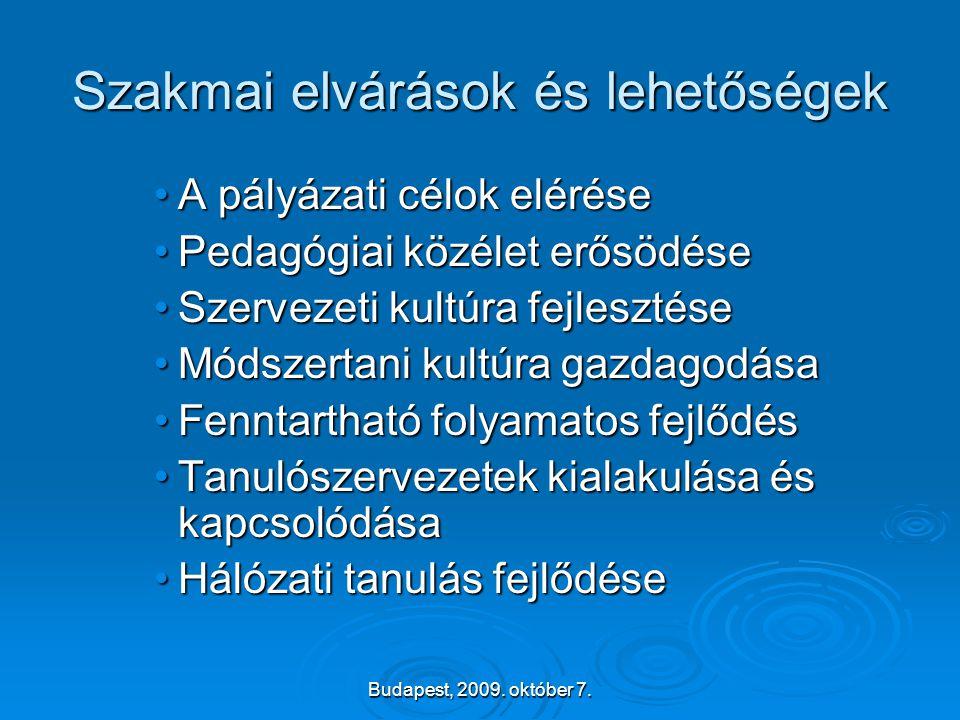 Budapest, 2009. október 7. Szakmai elvárások és lehetőségek •A pályázati célok elérése •Pedagógiai közélet erősödése •Szervezeti kultúra fejlesztése •