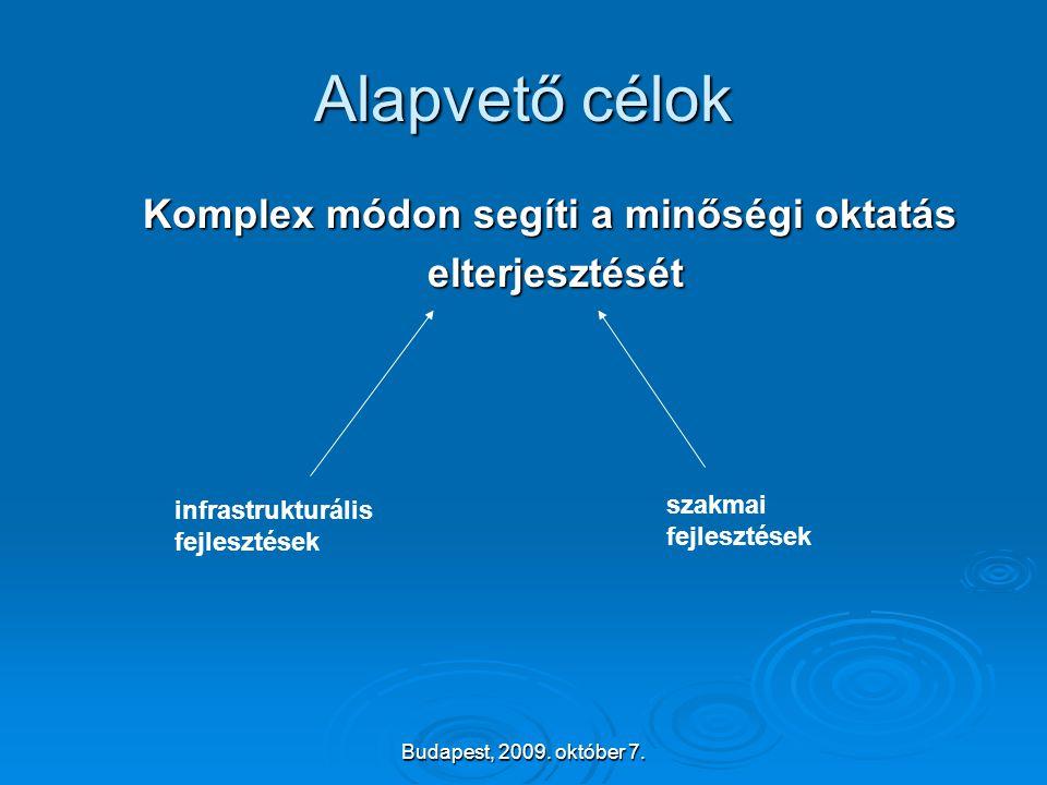 Budapest, 2009. október 7. Alapvető célok Komplex módon segíti a minőségi oktatás elterjesztését elterjesztését szakmai fejlesztések infrastrukturális