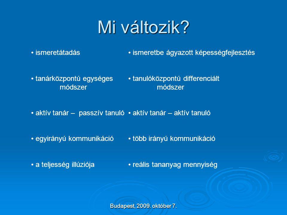Budapest, 2009. október 7. Mi változik? • ismeretátadás • tanárközpontú egységes módszer • aktív tanár – passzív tanuló • egyirányú kommunikáció • a t