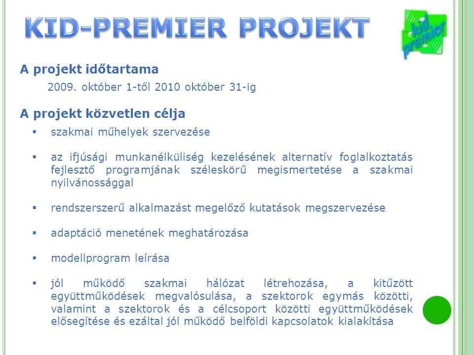 A projekt időtartama 2009. október 1-től 2010 október 31-ig A projekt közvetlen célja  szakmai műhelyek szervezése  az ifjúsági munkanélküliség keze