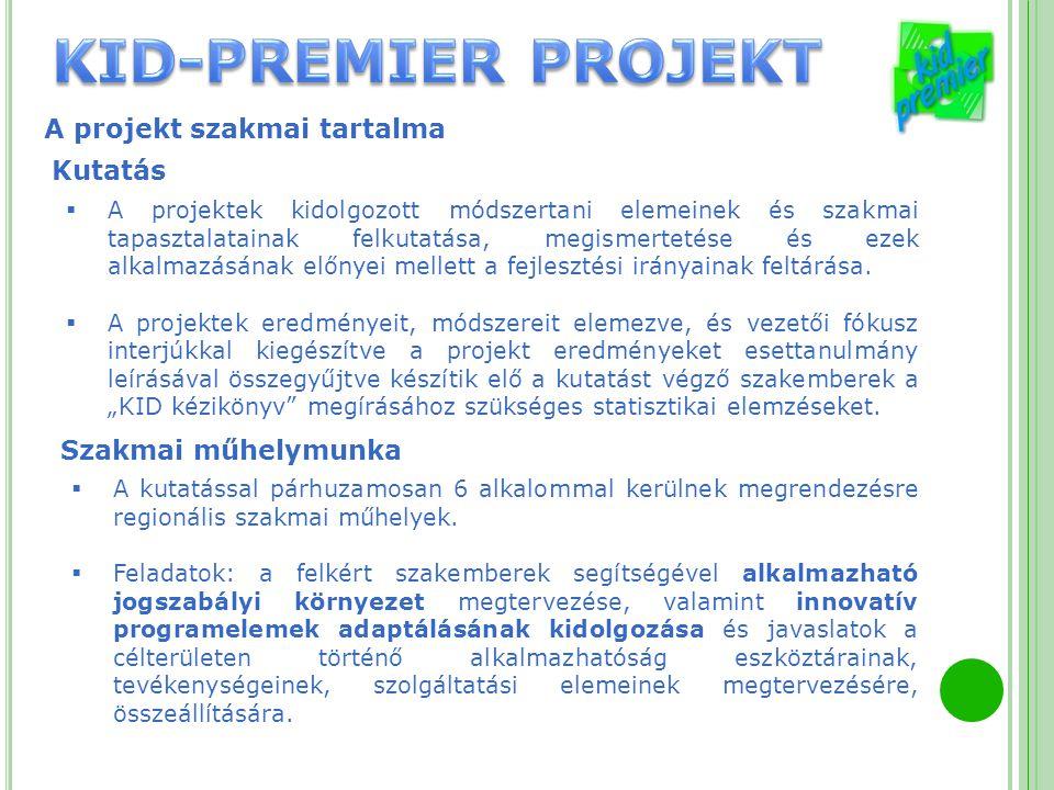 A projekt szakmai tartalma  A projektek kidolgozott módszertani elemeinek és szakmai tapasztalatainak felkutatása, megismertetése és ezek alkalmazásá