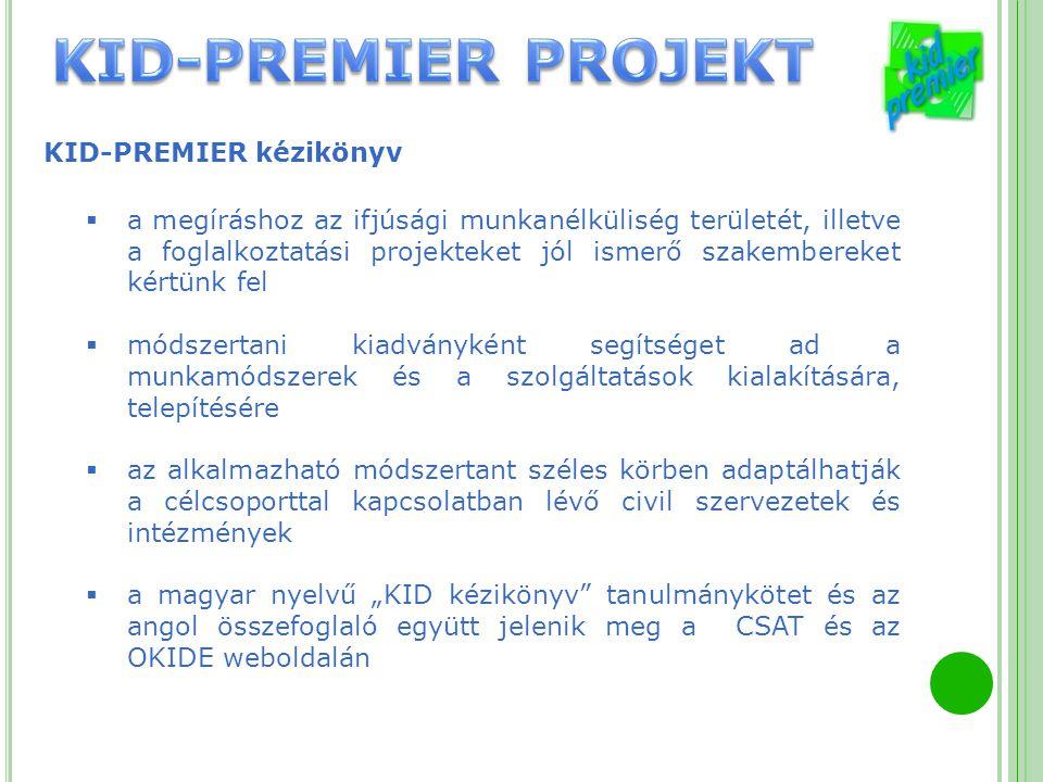 KID-PREMIER kézikönyv  a megíráshoz az ifjúsági munkanélküliség területét, illetve a foglalkoztatási projekteket jól ismerő szakembereket kértünk fel