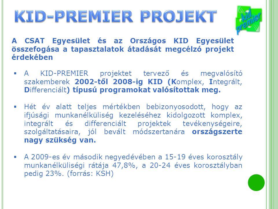 A CSAT Egyesület és az Országos KID Egyesület összefogása a tapasztalatok átadását megcélzó projekt érdekében  A KID-PREMIER projektet tervező és meg