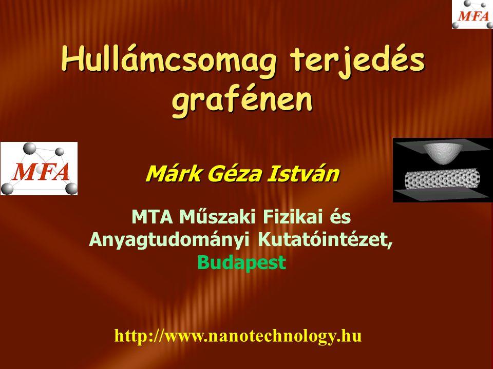 Hullámcsomag terjedés grafénen Márk Géza István MTA Műszaki Fizikai és Anyagtudományi Kutatóintézet, Budapest http://www.nanotechnology.hu