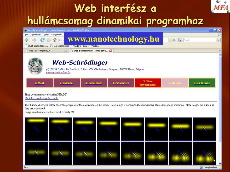 Web interfész a hullámcsomag dinamikai programhoz www.nanotechnology.hu