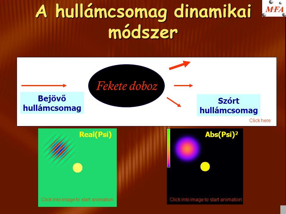 Szóráskísérlet a számítógépben Fekete doboz Bejövő hullámcsomag Szórt hullámcsomag A hullámcsomag dinamikai módszer Real(Psi)Abs(Psi) 2 Click into image to start animation Click here