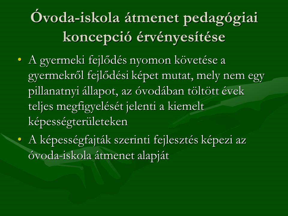 Óvoda-iskola átmenet pedagógiai koncepció érvényesítése •A gyermeki fejlődés nyomon követése a gyermekről fejlődési képet mutat, mely nem egy pillanat