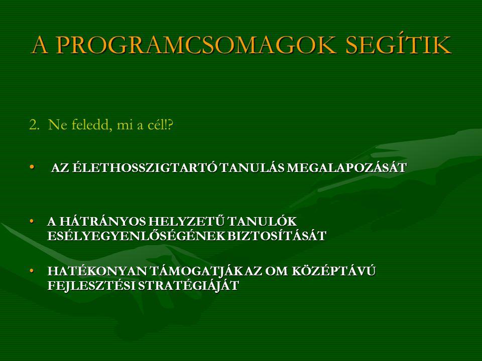 A PROGRAMCSOMAGOK SEGÍTIK 2.Ne feledd, mi a cél!.