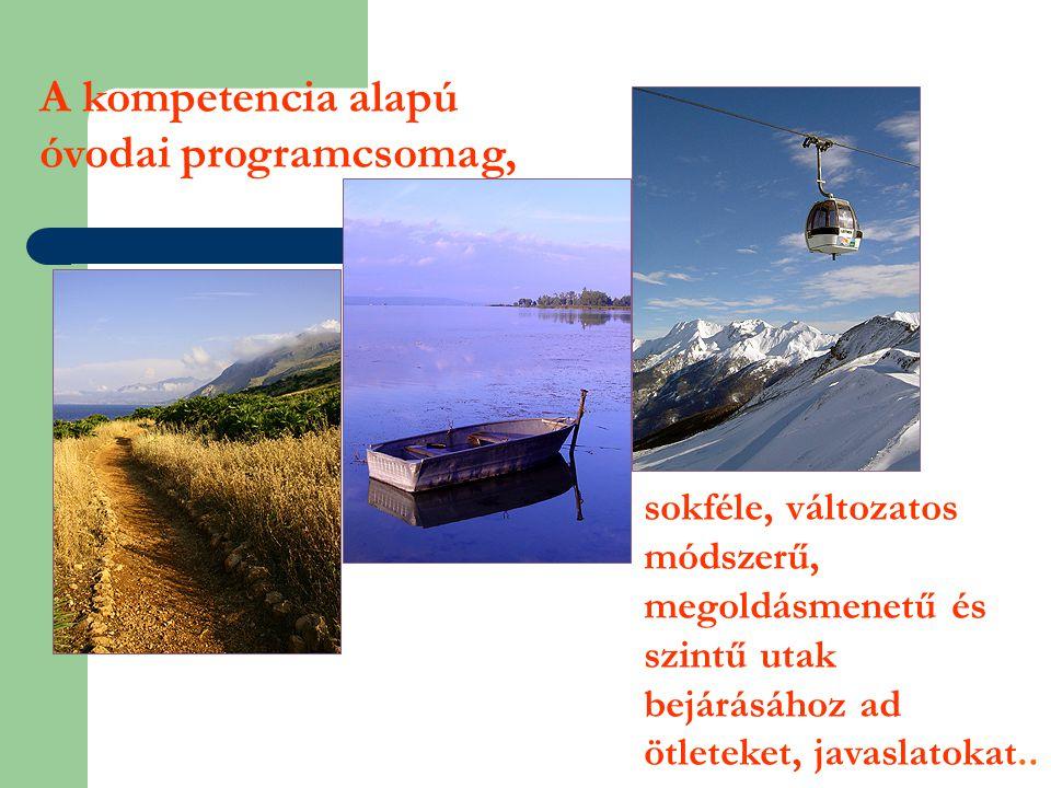 sokféle, változatos módszerű, megoldásmenetű és szintű utak bejárásához ad ötleteket, javaslatokat.. A kompetencia alapú óvodai programcsomag,