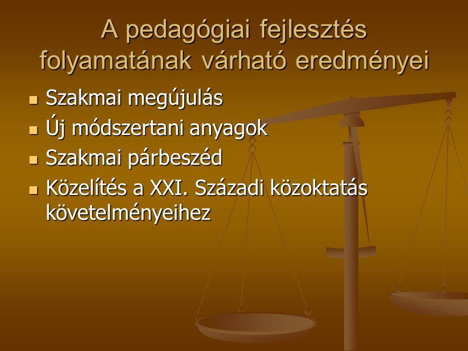 A pedagógiai fejlesztés folyamatának várható eredményei  Szakmai megújulás  Új módszertani anyagok  Szakmai párbeszéd  Közelítés a XXI. Századi kö