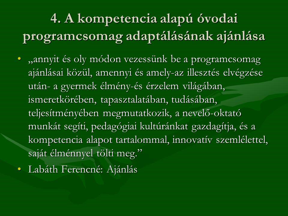 """4. A kompetencia alapú óvodai programcsomag adaptálásának ajánlása •""""annyit és oly módon vezessünk be a programcsomag ajánlásai közül, amennyi és amel"""