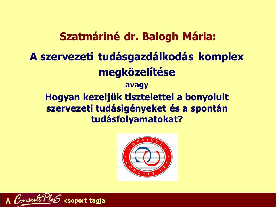 A csoport tagja Szatmáriné dr. Balogh Mária: A szervezeti tudásgazdálkodás komplex megközelítése avagy Hogyan kezeljük tisztelettel a bonyolult szerve