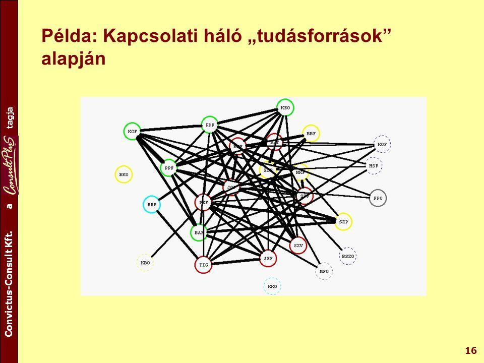 """A csoport tagja Convictus-Consult Kft. a tagja 16 Példa: Kapcsolati háló """"tudásforrások"""" alapján"""