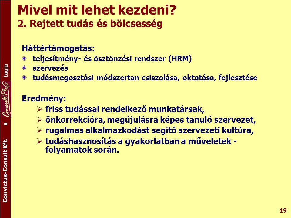 A csoport tagja Convictus-Consult Kft. a tagja 19 Mivel mit lehet kezdeni? 2. Rejtett tudás és bölcsesség Háttértámogatás: teljesítmény- és ösztönzési