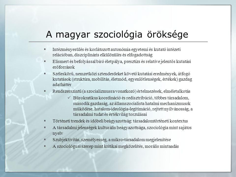 A magyar szociológia öröksége  Intézményesülés és korlátozott autonómia egyetemi és kutató intézeti relációban, diszciplináris elkülönülés és elfogadottság  Elismert és befolyással bíró életpálya, presztízs és relatíve jelentős kutatási erőforrások  Széleskörű, nemzetközi sztenderdeket követő kutatási eredmények, átfogó kutatások (struktúra, mobilitás, életmód, egyenlőtlenségek, értékek) gazdag adatháttér  Rendszerszintű (a szocializmusra vonatkozó) értelmezések, elméletalkotás  Bürokratikus koordináció és redisztribúció, többes társadalom, második gazdaság, az államszocialista hatalmi mechanizmusok működése, hatalom-ideológia-legitimáció, rejtett nyilvánosság, a társadalmi tudat és értékvilág torzulásai  Történeti trendek és időbeli beágyazottság: társadalomtörténeti kontextus  A társadalmi jelenségek kulturális beágyazottsága, szociológia mint sajátos nyelv  Szubjektivitás, személyesség, a mikro-társadalom megjelenítése  A szociológusi szerep mint kritikai megközelítés, morális mintaadás