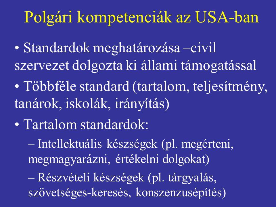 Polgári kompetenciák az USA-ban • Standardok meghatározása –civil szervezet dolgozta ki állami támogatással • Többféle standard (tartalom, teljesítmény, tanárok, iskolák, irányítás) • Tartalom standardok: – Intellektuális készségek (pl.