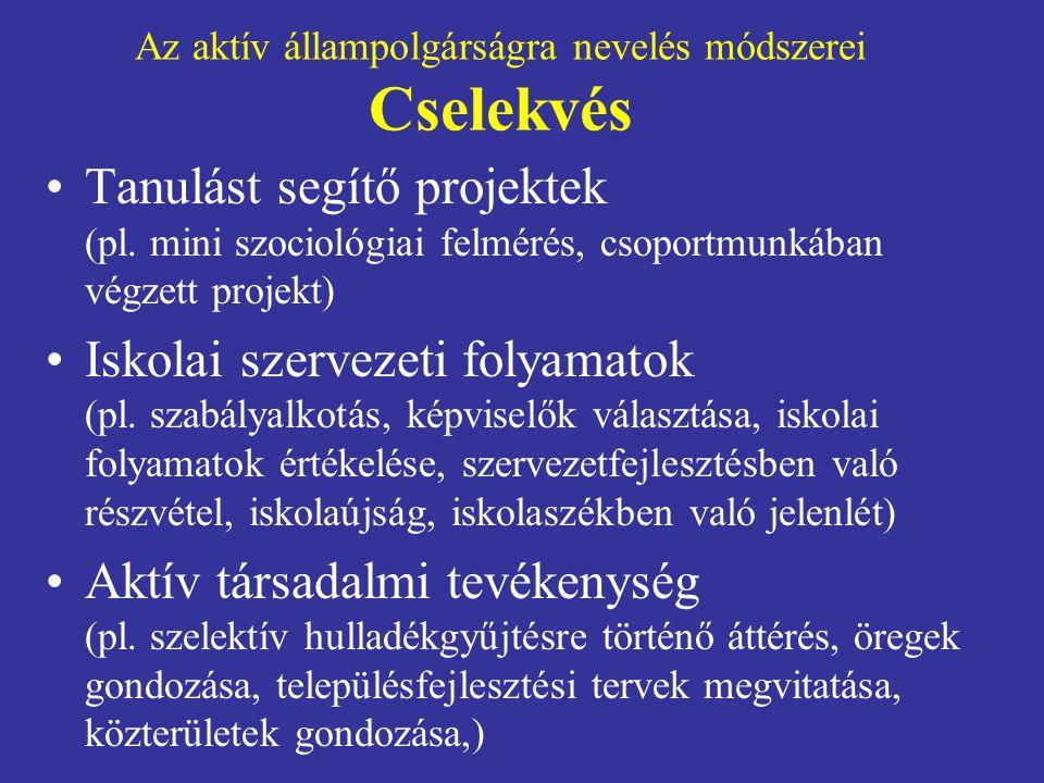Az aktív állampolgárságra nevelés módszerei Cselekvés •Tanulást segítő projektek (pl.