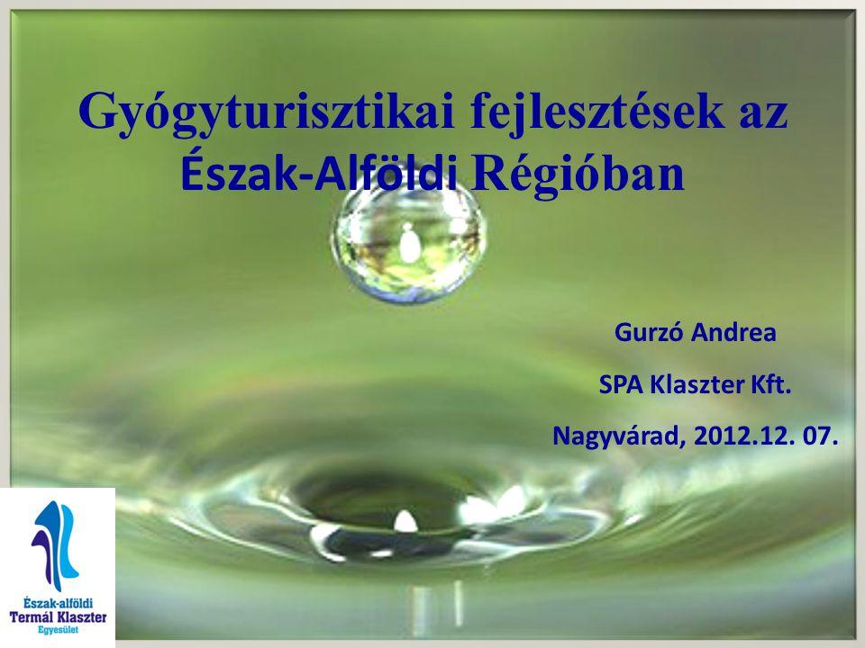 Gyógyturisztikai fejlesztések az Észak-Alföldi Régióban Gurzó Andrea SPA Klaszter Kft. Nagyvárad, 2012.12. 07.