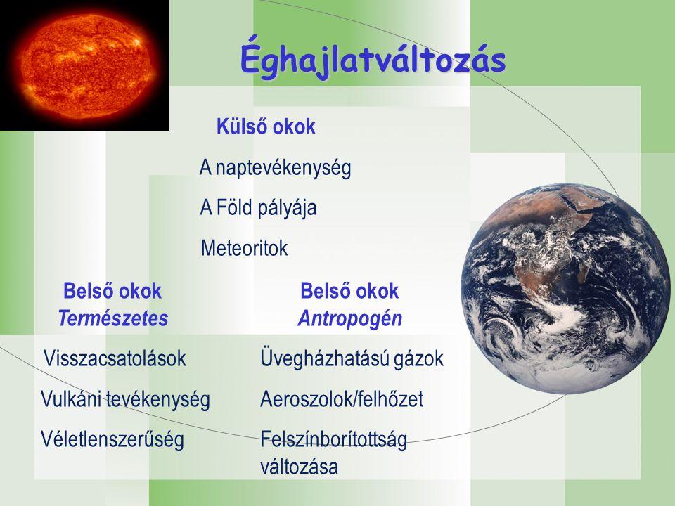 Külső okok A naptevékenység A Föld pályája Meteoritok Belső okok Antropogén Üvegházhatású gázok Aeroszolok/felhőzet Felszínborítottság változása Belső