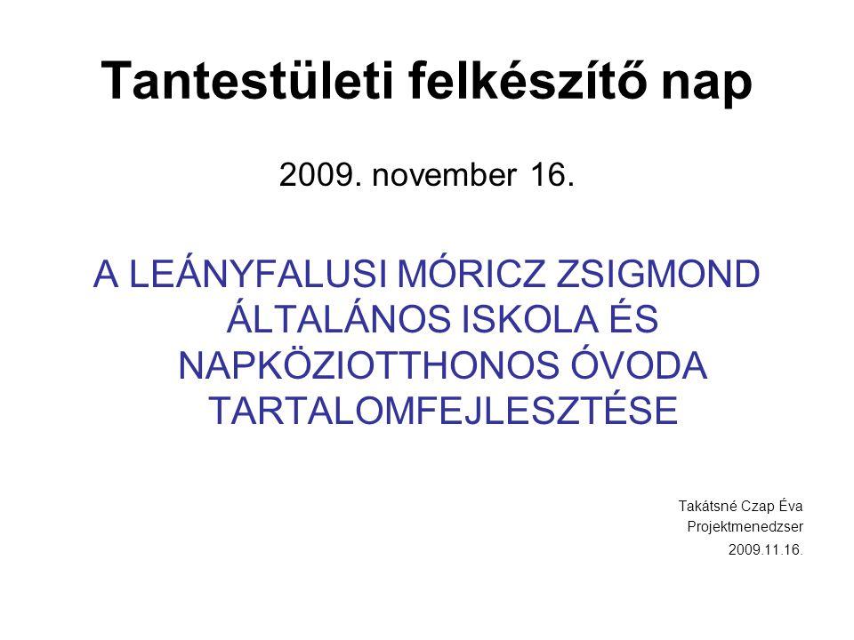 Tantestületi felkészítő nap 2009. november 16. A LEÁNYFALUSI MÓRICZ ZSIGMOND ÁLTALÁNOS ISKOLA ÉS NAPKÖZIOTTHONOS ÓVODA TARTALOMFEJLESZTÉSE Takátsné Cz