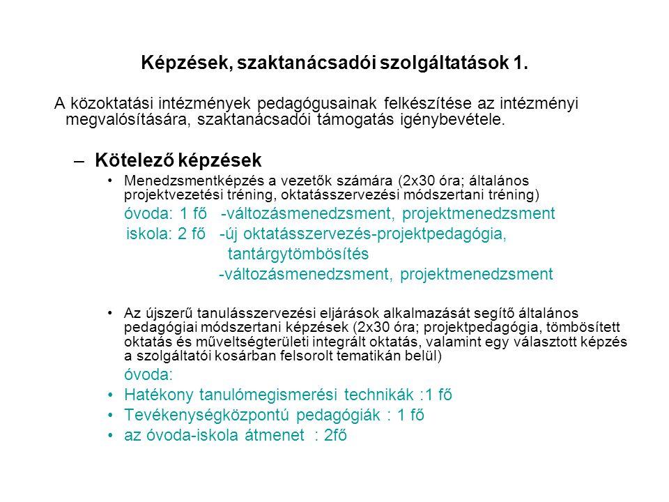 Képzések, szaktanácsadói szolgáltatások 1. A közoktatási intézmények pedagógusainak felkészítése az intézményi megvalósítására, szaktanácsadói támogat
