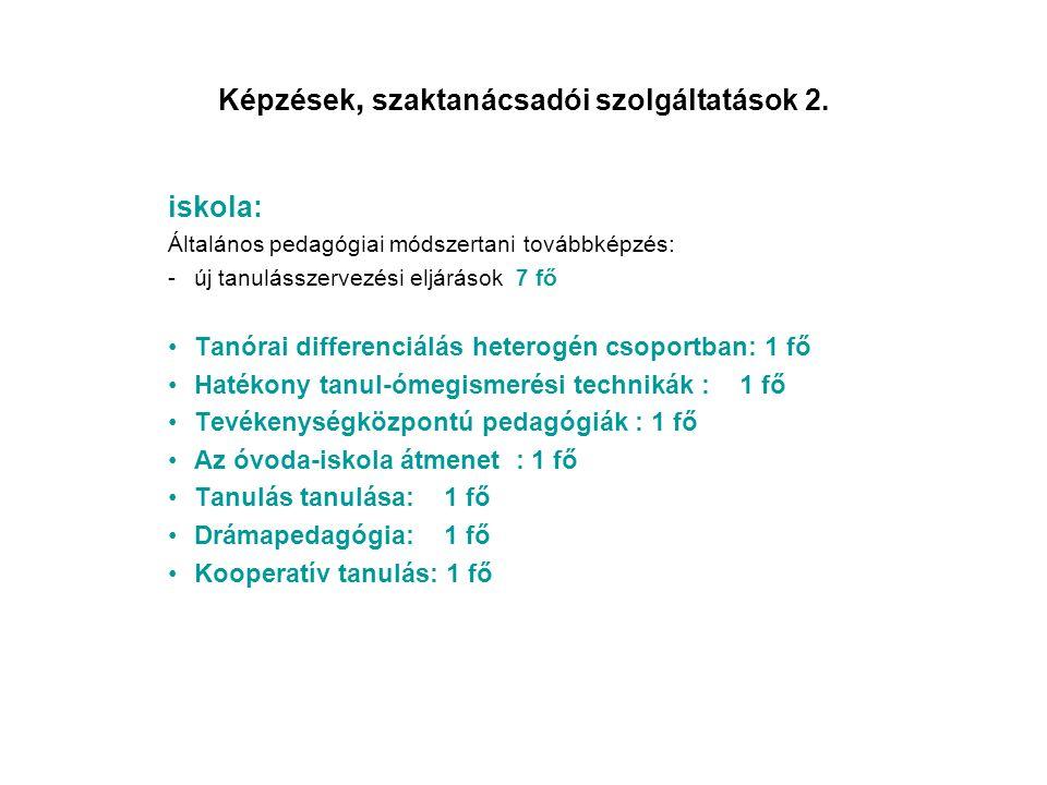 Képzések, szaktanácsadói szolgáltatások 2. iskola: Általános pedagógiai módszertani továbbképzés: -új tanulásszervezési eljárások 7 fő •Tanórai differ