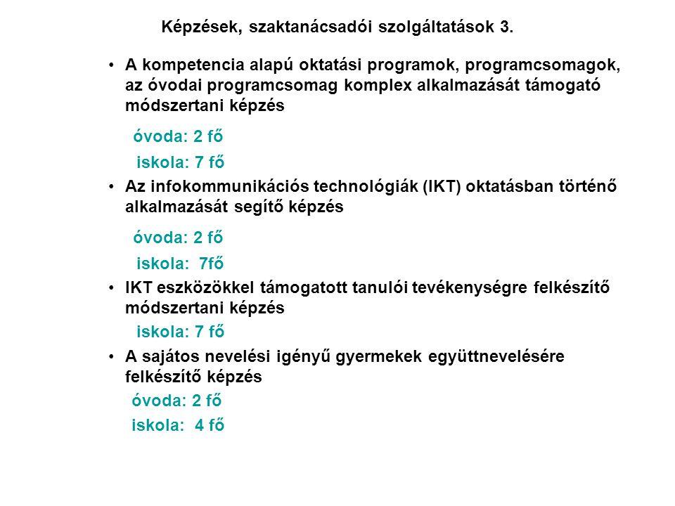 Képzések, szaktanácsadói szolgáltatások 3. •A kompetencia alapú oktatási programok, programcsomagok, az óvodai programcsomag komplex alkalmazását támo