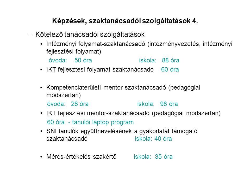 Képzések, szaktanácsadói szolgáltatások 4. –Kötelező tanácsadói szolgáltatások •Intézményi folyamat-szaktanácsadó (intézményvezetés, intézményi fejles