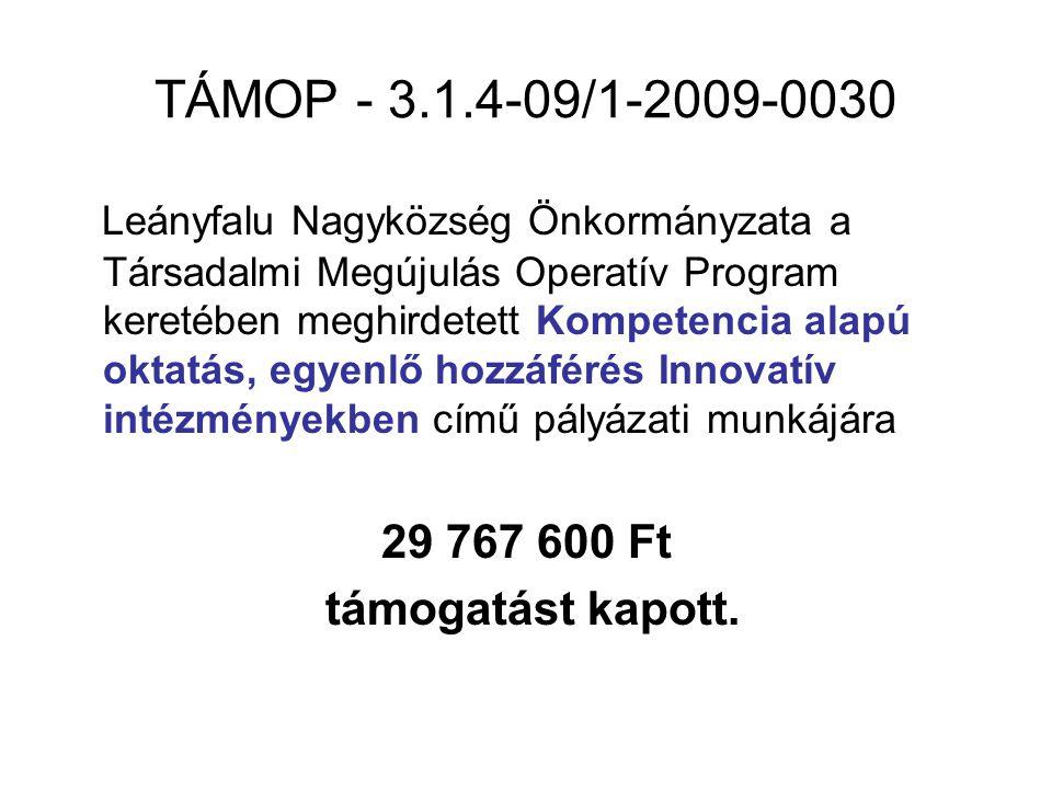 TÁMOP - 3.1.4-09/1-2009-0030 Leányfalu Nagyközség Önkormányzata a Társadalmi Megújulás Operatív Program keretében meghirdetett Kompetencia alapú oktat