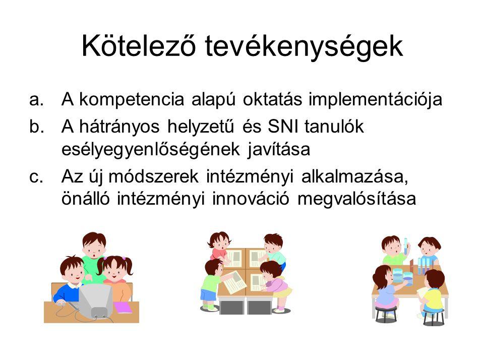 Kötelező tevékenységek a.A kompetencia alapú oktatás implementációja b.A hátrányos helyzetű és SNI tanulók esélyegyenlőségének javítása c.Az új módsze