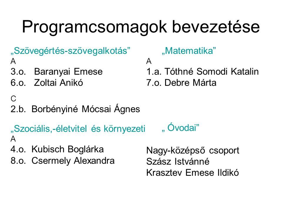 """Programcsomagok bevezetése """"Szövegértés-szövegalkotás"""" A 3.o. Baranyai Emese 6.o. Zoltai Anikó C 2.b. Borbényiné Mócsai Ágnes """"Szociális,-életvitel és"""