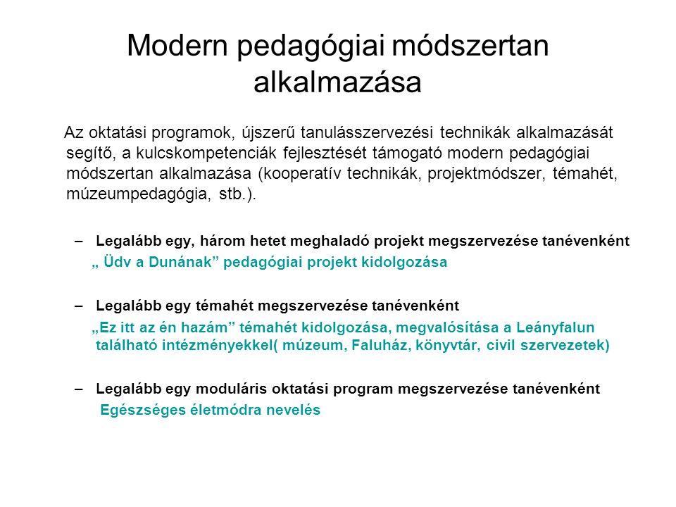 Modern pedagógiai módszertan alkalmazása Az oktatási programok, újszerű tanulásszervezési technikák alkalmazását segítő, a kulcskompetenciák fejleszté
