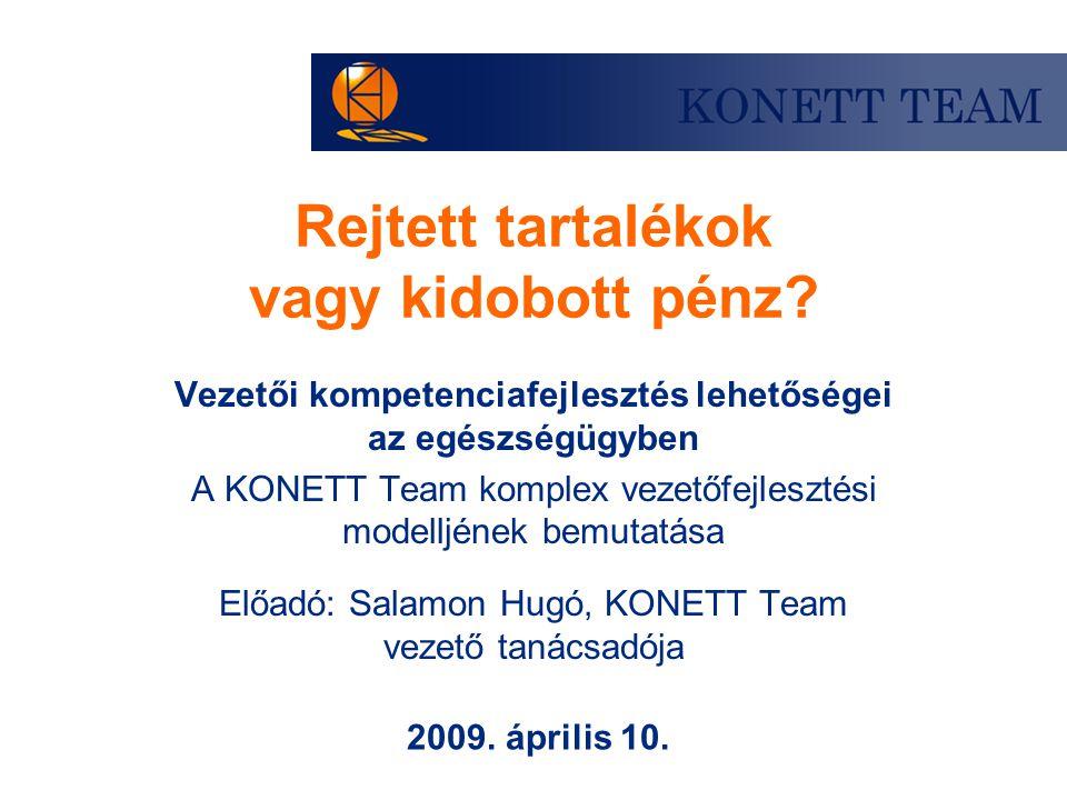 Rejtett tartalékok vagy kidobott pénz? Vezetői kompetenciafejlesztés lehetőségei az egészségügyben A KONETT Team komplex vezetőfejlesztési modelljének
